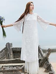 Ample Robe Femme Décontracté / Quotidien simple / Chinoiserie,Broderie Col Arrondi Mi-long Manches ¾ Blanc Autres Eté Taille NormaleNon