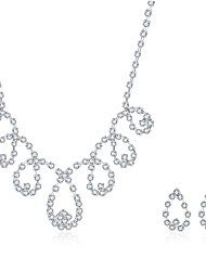 2016 Noble Luxury Drop Wedding Bridal Silver Zircon Necklace Earrings Party Jewelry Set