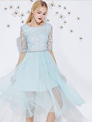 Trapèze Robe Femme Sortie Mignon,Broderie Col Arrondi Midi ½ Manches Bleu / Rose Polyester Eté Taille Haute Non Elastique Moyen
