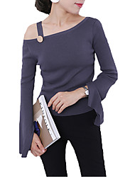 Women's Casual Spring / Fall T-shirt Solid One Shoulder Long Sleeve White / Black / Gray / Purple Shirt