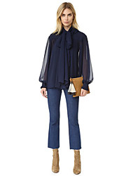 Women's Work Street chic Spring BlouseSolid Peter Pan Collar Long Sleeve Blue / Black Others Sheer