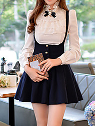 Women's Lace White Shirt , Stand Long Sleeve Sweet lily white shirt collar lace