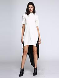Damen Kleid - Lose Patchwork Asymmetrisch Polyester Rollkragen