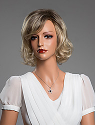 Curly Charming Short Wig With Bangs Virgin Human Hair Secondary Color 14 Inch