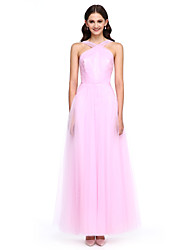 2017 Lanting Bride® Ankle-length Tulle Elegant Bridesmaid Dress - A-line Straps with Side Draping / Criss Cross