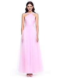 2017 lanting bride® knöchellangen Tüll elegante Brautjungfer Kleid - ein Online-Gurte mit Seiten Drapierung / Kreuzschnürung