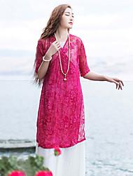 Mulheres Blusa Casual Simples / Chinoiserie Verão,Bordado Vermelho Seda Decote V Meia Manga Leve Transparência
