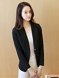 Women's Casual/Daily / Work OL Style One Button Simple Spring / Fall BlazerSolid Notch Lapel Long Sleeve