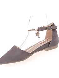 Для женщин На плокой подошве Удобная обувь Флис Осень Повседневные Удобная обувь Пряжки На плоской подошве Серый Розовый ХакиНа плоской