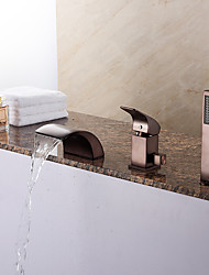 Modern Tub Waterfall / Handshower Included with  Ceramic Valve 1-Handle 3-Holes for  ORB Bathtub Faucet