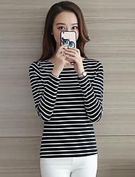 Tee-shirt Aux femmes,Rayé Sortie / Décontracté / Quotidien / Grandes Tailles simple / Chic de Rue Automne / Hiver Manches LonguesCol