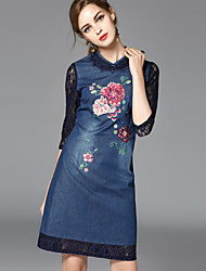 CELINEIA  Women's Going out Chinoiserie Denim DressEmbroidered Stand Above Knee Long Sleeve