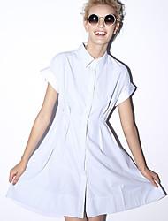 nouvelle avant casual shirt / journalier simple des femmes dressstriped col de chemise au-dessus du genou à manches courtes bleu