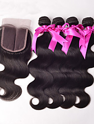 4x4'' Lace Closure With Bundles Peruvian Virgin Hair Body wave Unprocessed Human Hair 3 Bundles with Lace Closure
