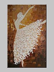 Pintados à mão Abstrato / Pessoas Pinturas a óleo,Moderno / Tradicional 1 Painel Tela Pintura a Óleo For Decoração para casa
