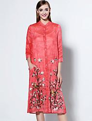 Feminino Solto Vestido,Casual Simples Bordado Colarinho Chinês Altura dos Joelhos Manga ¾ Rosa Poliéster Outono Cintura Média