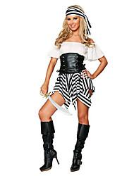 Costumes de Cosplay / Costume de Soirée Pirate Fête / Célébration Déguisement Halloween Noir/blanc Rayé Jupe / Ceinture / Chapeau