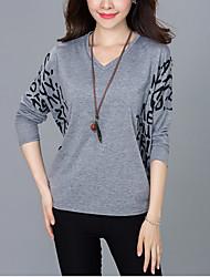 Damen Buchstabe Street Schick Lässig/Alltäglich T-shirt,V-Ausschnitt Herbst Langarm Weiß / Schwarz / Grau Baumwolle Mittel