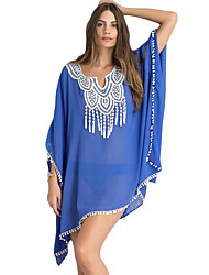 Women's Beach Sexy Summer Blouse,Patchwork V Neck ¾ Sleeve Blue / White Polyester Opaque