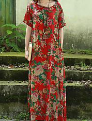 A tunica Vestito Da donna-Casual Stoffe orientali Fantasia floreale Rotonda Maxi Manica corta Rosso Cotone Estate A vita medio-alta