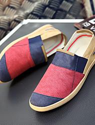 Herren-Flache Schuhe-Lässig-Denim Jeans-Flacher Absatz-Komfort-Blau Braun Rot Grau Bräunlich