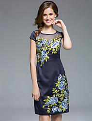 col rond masa femmes, plus la taille / sortir gaine chinoiserie dressembroidered-dessus du genou à manches courtes
