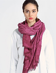 Women Cotton Vintage Casual Rectangle Solid Color Violet Tassel Scarf