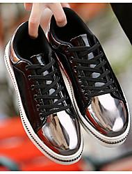 Femme-Extérieure-Noir / Blanc-Talon Plat-Bout Fermé-Sneakers-Similicuir