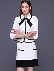 Set Jupe Costumes Femme,Couleur Pleine Habillées Mignon Printemps Manches ¾ Col Rond Claudine Blanc Coton / Polyester Moyen