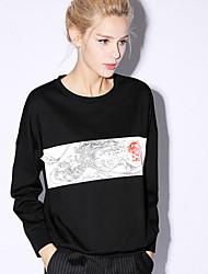 nouvelle avant casual / jour chinoiserie régulière hoodiesprint rouge / noir autour du cou des femmes