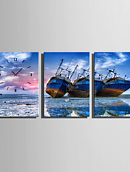 Boats On The Beach Clock in Canvas 3pcs