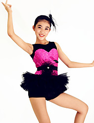 Jazz Outfits Women's / Children's Performance Spandex / Paillettes / Flower(s) / Ruffles / Sash/Ribbon / Sequins3