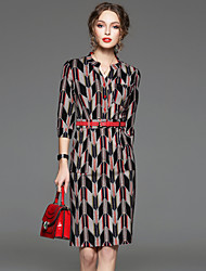 CELINEIA Women's Work Vintage Sheath DressGeometric V Neck Above Knee  Sleeve Black Cotton / Nylon / Spandex