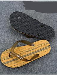 Men's Slippers & Flip-Flops Comfort Customized Materials Summer Casual Comfort Flat Heel Beige Brown Green Flat