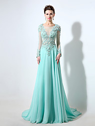 Formal Evening Dress Sheath / Column Bateau Sweep / Brush Train Chiffon / Lace with Beading / Crystal Detailing / Lace