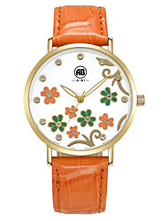 Carol Golden Case Flower Dial Orange Leather Strap Watch