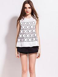 j&les femmes d de sortir sans manches col rond milieu de polyester blanc t-shirtembroidered simples d'été