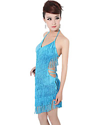 Latin Dance Dresses Women's Performance Polystyrene Sequins Sleeveless High 100