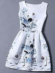 Women's Going out / Casual/Daily Street chic A Line / Sheath Dress,Print / Jacquard  Above Knee Sleeveless White