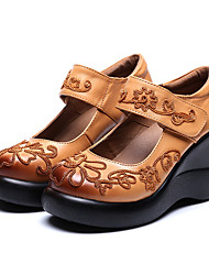 Women's Sneakers Spring Fall Leather Outdoor Wedge Heel Others Black Yellow Red Walking