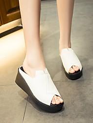 Women's Sandals Summer Platform PU Casual Wedge Heel Platform Others Black White Other