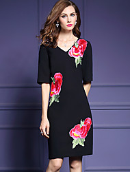 Women's Plus Size / Casual/Daily Simple Loose DressEmbroidered V Neck Knee-length  Length Sleeve Black Polyester