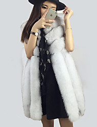 Women's Casual/Daily Simple Fur CoatSolid Round Neck Sleeveless Winter Pink / White Faux Fur Opaque