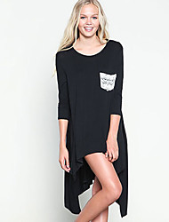 Damen Solide Einfach Lässig/Alltäglich T-shirt,Rundhalsausschnitt Sommer ¾-Arm Mehrfarbig Seide Undurchsichtig