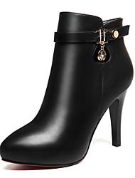 Damen-Stiefel-Büro Lässig-Pelz-Stöckelabsatz-Modische Stiefel-Schwarz Rot