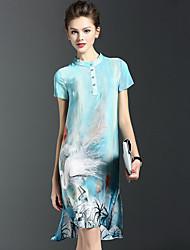 Mujer Recto Vestido Noche Tejido Oriental,Estampado Escote Chino Asimétrico Manga Corta Azul Seda Verano Tiro Medio Rígido Fino