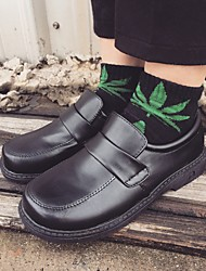 Women's Loafers & Slip-Ons Fall Comfort PU Outdoor Low Heel Magic Tape Black Walking