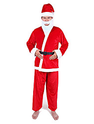 Costumes Santa Suits Christmas Red Solid Nonwoven Fabric Top / Pants / Hat