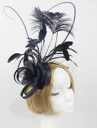 Women's Black Organza Headpiece-Wedding Tulle Net Fascinators with Feather Headband Hat