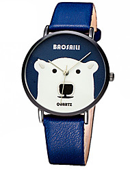 Women's Fashion Quartz Casual Watch Leather Belt Round Alloy Dial Little White Bear Watch Cool Watch Unique Watch